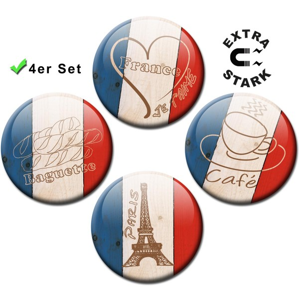 """Magnete für Glasmagnettafel 4er-Set Länderflaggen Frankreich """"L'Amour"""" - Ø 5 cm"""
