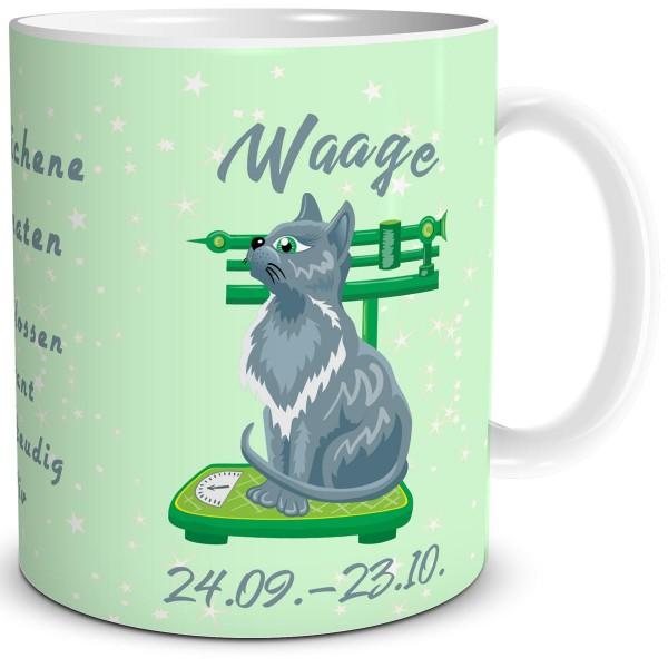 Sternzeichen Waage Katze Cartoon, Tasse 300 ml