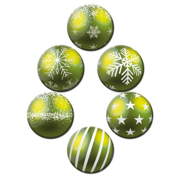 Weihnachtsbaumkugel Grün, Glasmagnettafel Magnete 6er-Set Ø 5 cm