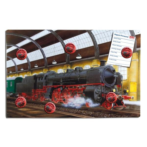 Magnetpinnwand 60 x 40 cm Dampflok inkl. 6 Magnete Eisenbahnräder