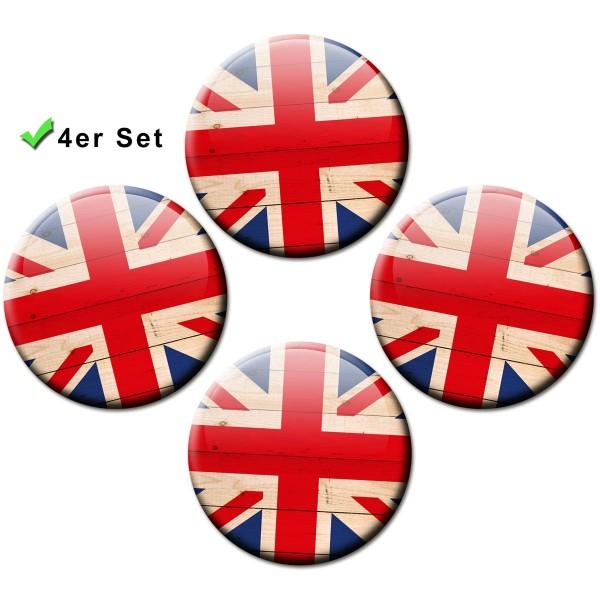 Magnete 4er-Set Länderflaggen Union Jack Wood - Ø 5 cm