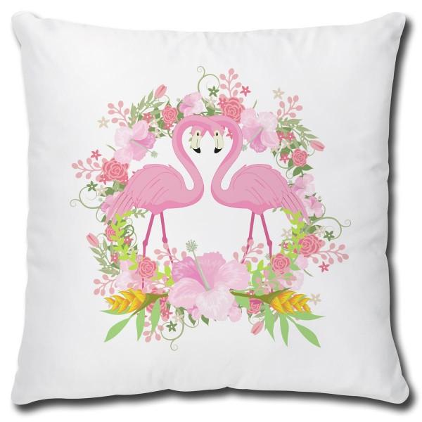 Flamingo Flower Circle of Love, Kissen 40x40 cm