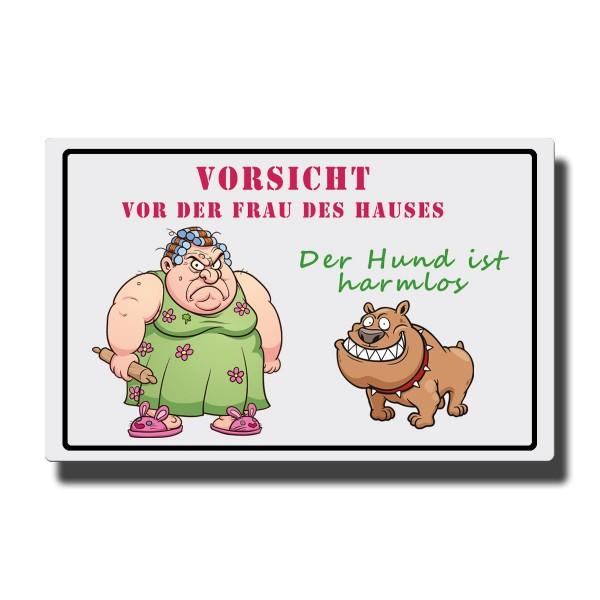Hund Vorsicht Frau, Magnet 8,5x5,5 cm