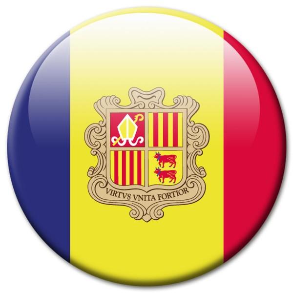 Flagge Andorra, Magnet 5 cm