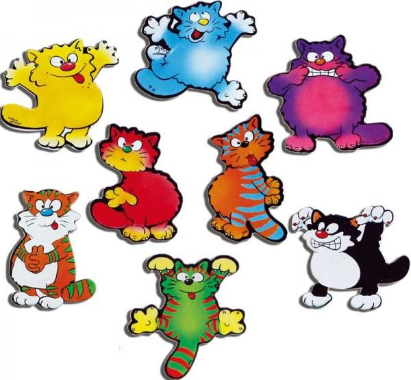 Magnete 8er-Set Comic-Katzen