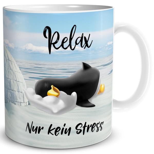 Pinguin Relax kein Stress, Tasse 300 ml