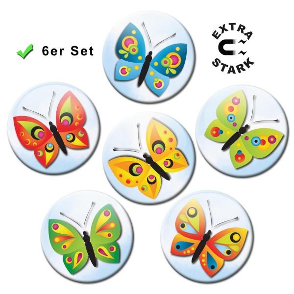 Himmlische Schmetterlinge, Glasmagnettafel Magnete 6er-Set Ø 5 cm