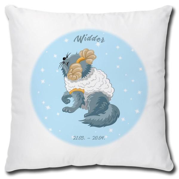Sternzeichen Widder Katze Comic, Kissen 40x40 cm