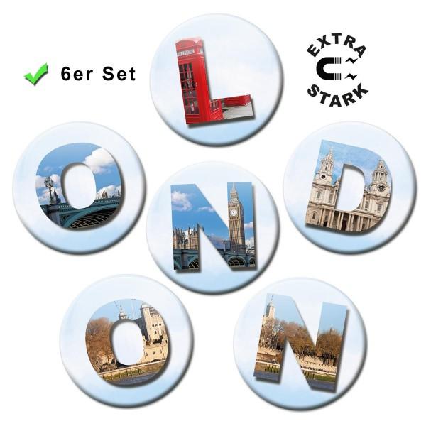 London Letters, Glasmagnettafel Magnete 6er-Set Ø 5 cm