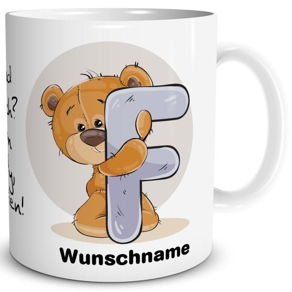 Teddy Bär F mit Wunschname, Tasse 300 ml, Weiß
