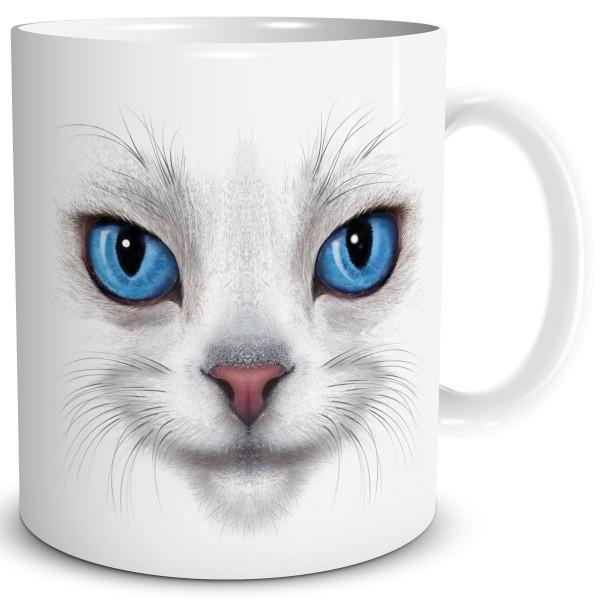 Katze White Cat Blue Eyes, Tasse 300 ml, Weiß