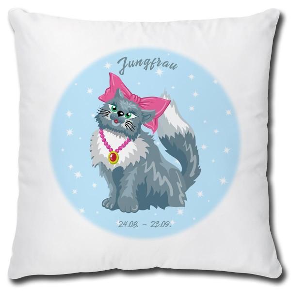 Sternzeichen Jungfrau Katze Comic, Kissen 40x40 cm