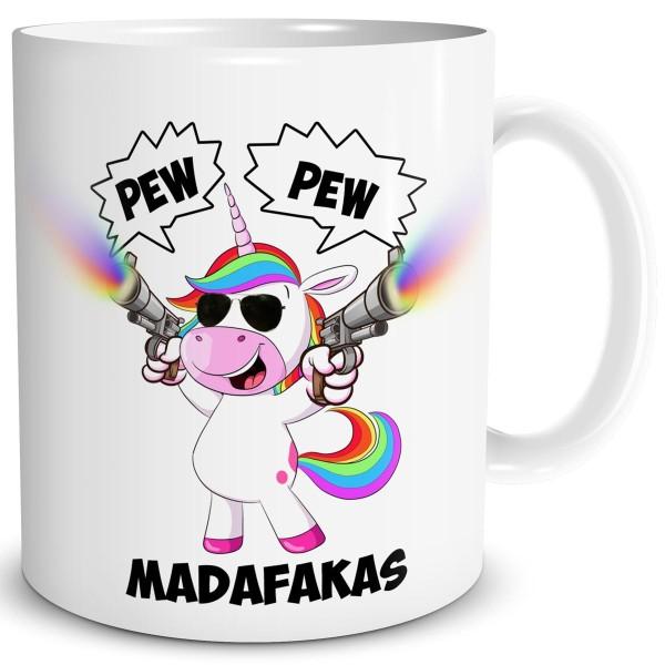 Einhorn Madafakas, Tasse 300 ml, Weiß