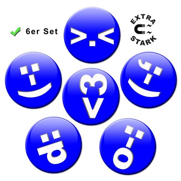 Chat Icon Blau, Glasmagnettafel Magnete 6er-Set Ø 5 cm