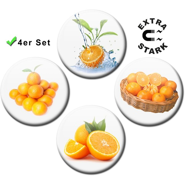 Magnete für Glasmagnettafel 4er-Set Orangen - Ø 5 cm