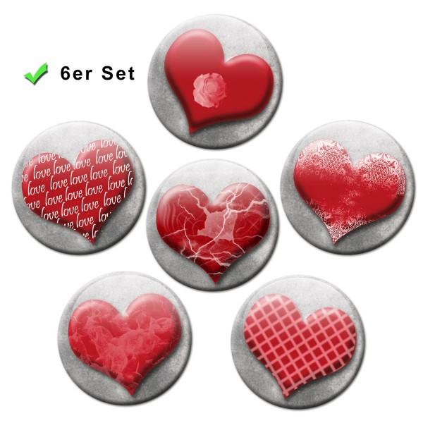 Romantische Herzen, Kühlschrankmagnete 6er-Set Ø 5 cm