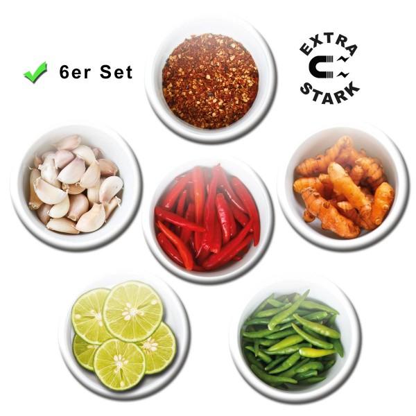 Gewürze Hot Spices, Glasmagnettafel Magnete 6er-Set Ø 5 cm