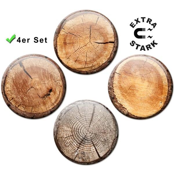Magnete für Glasmagnettafel 4er-Set Baumstammscheiben Optik - Ø 5 cm