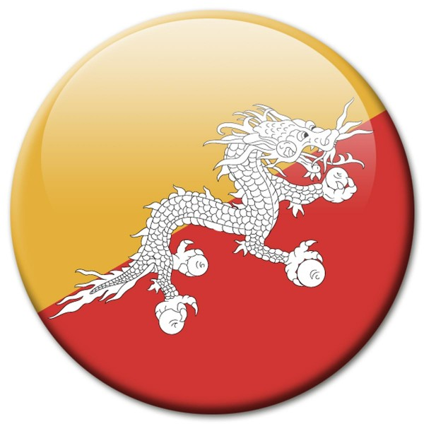 Flagge Bhutan, Magnet 5 cm