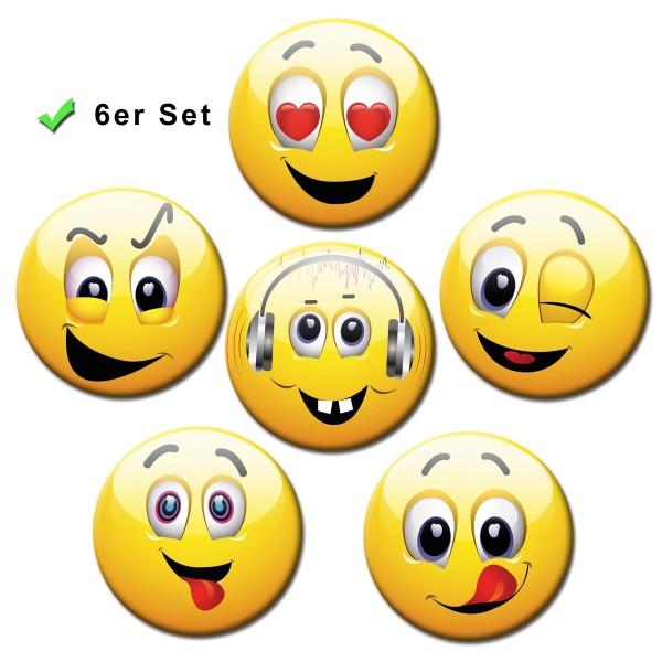 Smiley Happy Faces, Kühlschrankmagnete 6er-Set Ø 5 cm