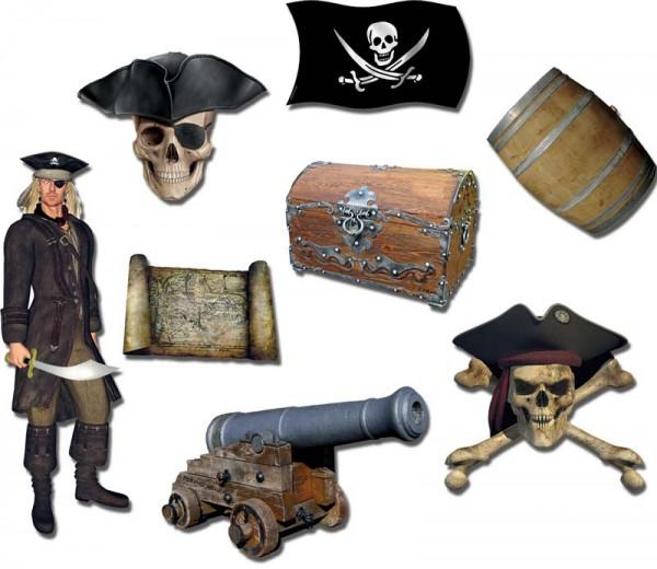 Magnete 8er-Set Piraten & Totenköpfe