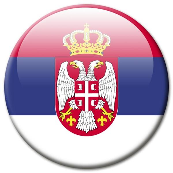 Flagge Serbien, Magnet 5 cm