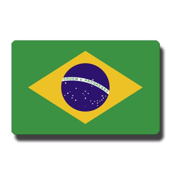 Flagge Brasilien, Magnet 8,5x5,5 cm
