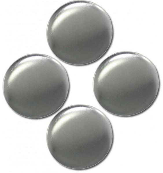 Magnete 4er-Set Metallic silber - Ø 5 cm