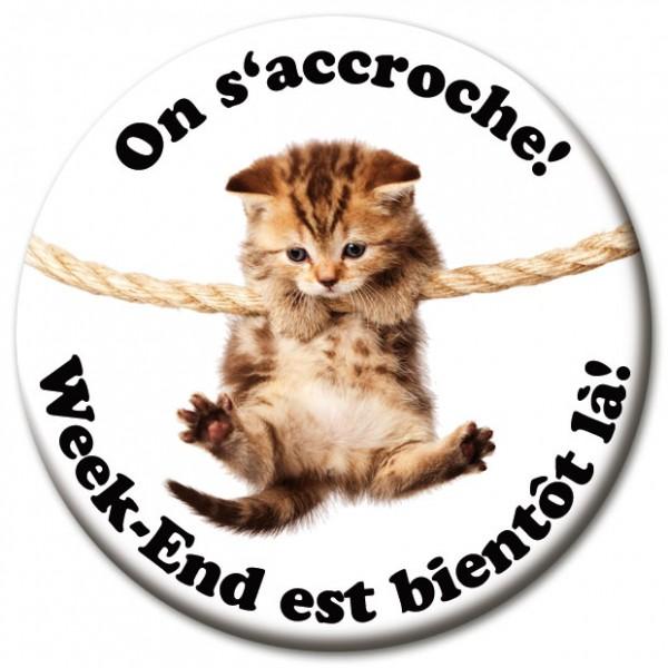 "Magnet Fun & Motivation Katze ""On s'accroche!"" - Ø 5 cm"