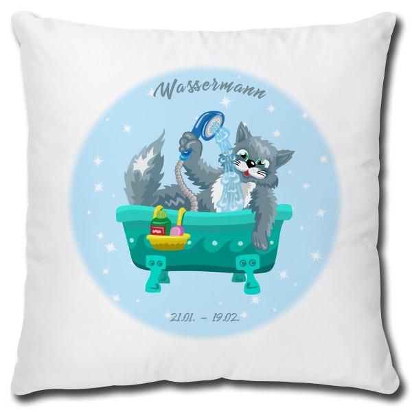 Sternzeichen Wassermann Katze Comic, Kissen 40x40 cm
