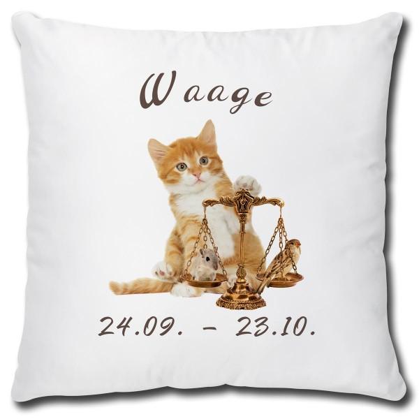 Sternzeichen Waage Katze, Kissen 40x40 cm
