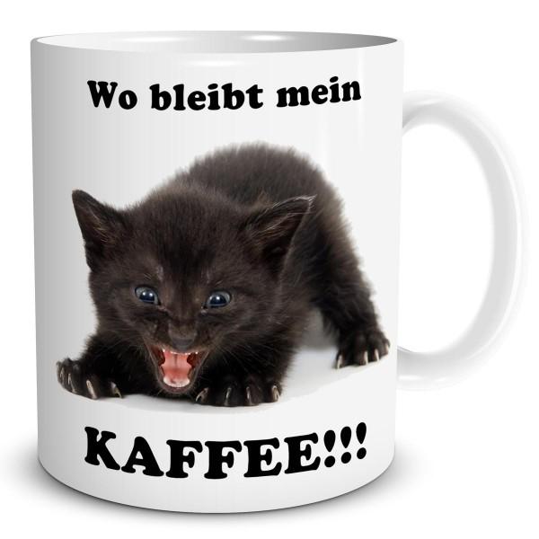 """Kaffeetasse mit Katze """"Wo bleibt mein Kaffee"""""""