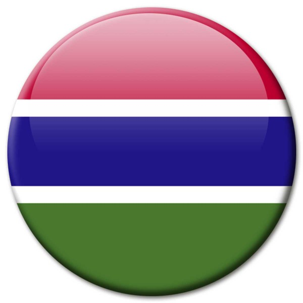 Flagge Gambia, Magnet 5 cm