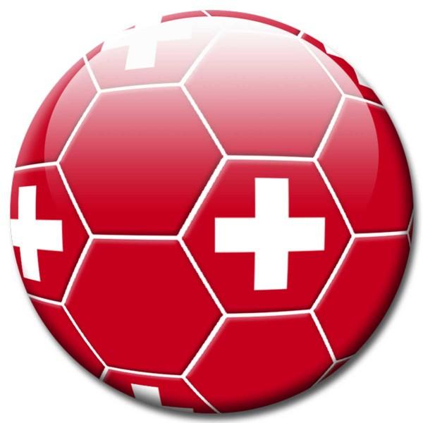 Magnet Fußball - Flagge Schweiz - Ø 5 cm