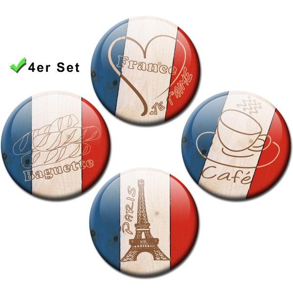 "Magnete 4er-Set Länderflaggen Frankreich ""L'Amour"" - Ø 5 cm"