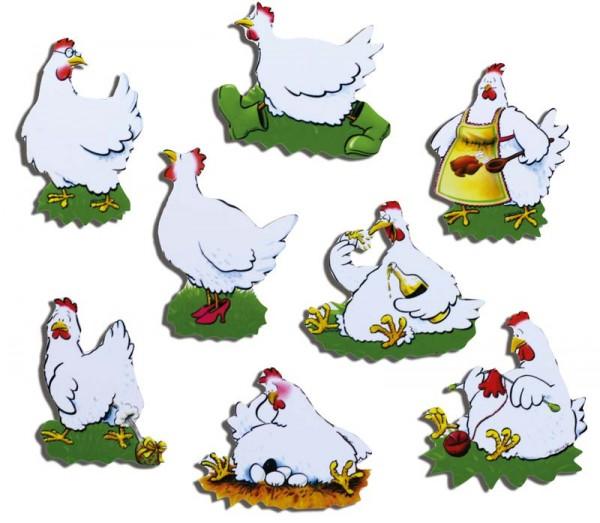 Magnete 8er-Set Hühner
