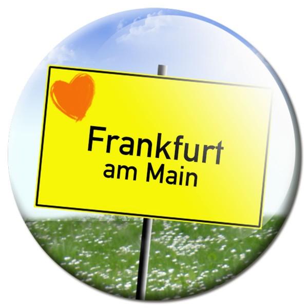 Magnet Ortsschild I love Frankfurt am Main - Ø 5 cm