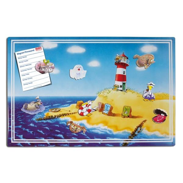 Magnetpinnwand 60 x 40 cm Urlaub/Strand inkl. 8 Magnete Meerestiere