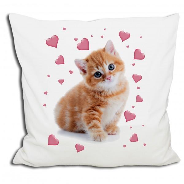 kissen katze k tzchen rosa herzen 40x40 cm wei mit f llkissen kissen triosk trends. Black Bedroom Furniture Sets. Home Design Ideas
