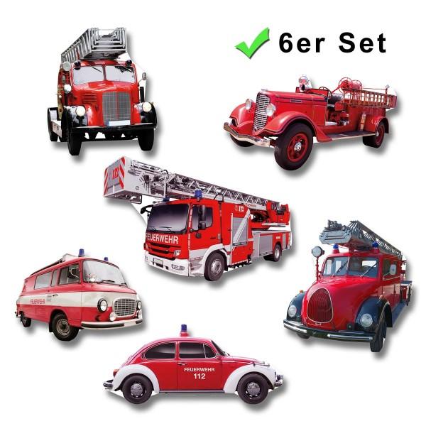Feuerwehrauto, Kühlschrankmagnete 6er-Set