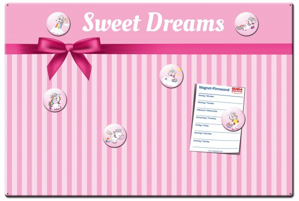 Magnettafel 60 x 40 cm Einhorn Sweet Dreams inkl. 6 Magnete Einhörner