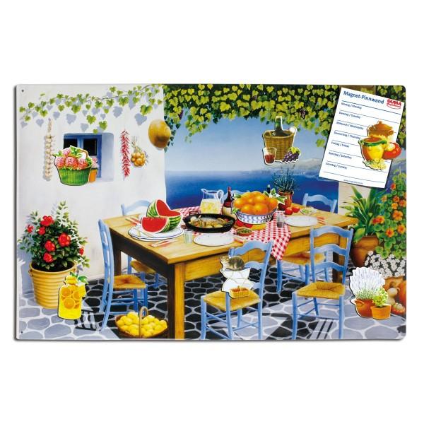 Magnetpinnwand 60 x 40 cm Mediterranes Flair inkl. 8 Magnete mit köstlichen Motiven
