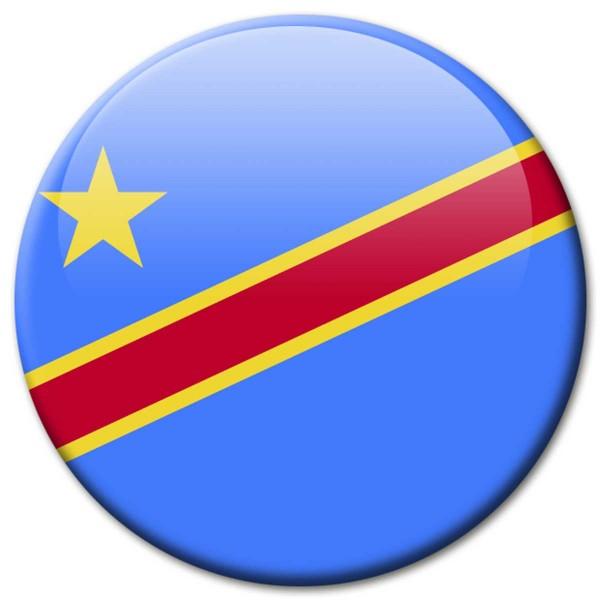 Flagge Kongo Demokratische Republik, Magnet 5 cm