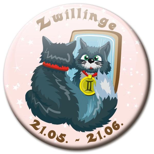 Magnet Katze - Sternzeichen Zwillinge - Ø 5 cm