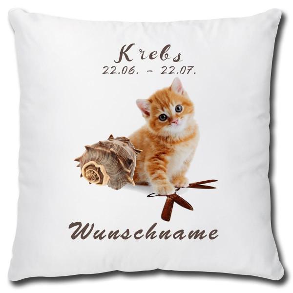 Sternzeichen Krebs Katze, Kissen 40x40 cm personalisiert
