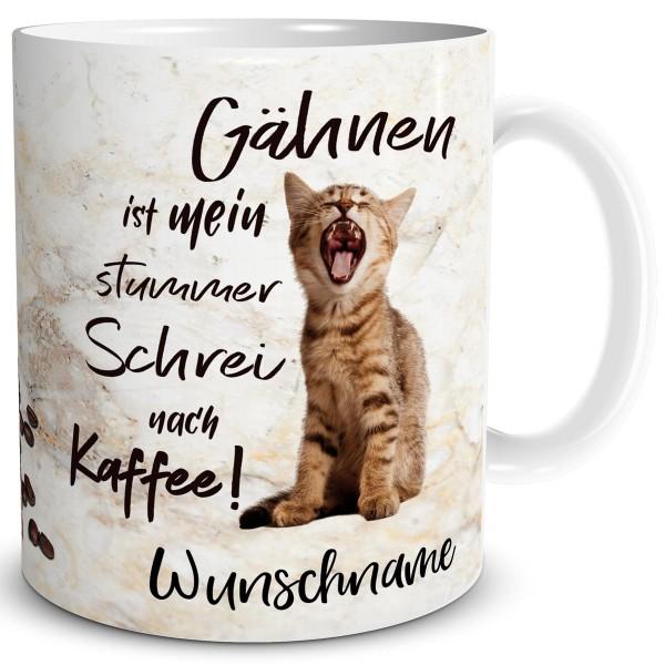 Katzen Gähnen mit Wunschname, Tasse 300 ml
