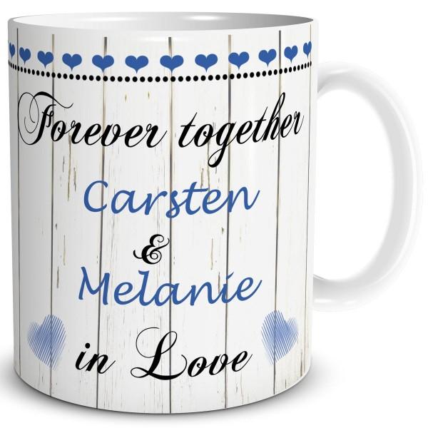 Forever Together You & Me mit Wunschname, Tasse 300 ml, Blau