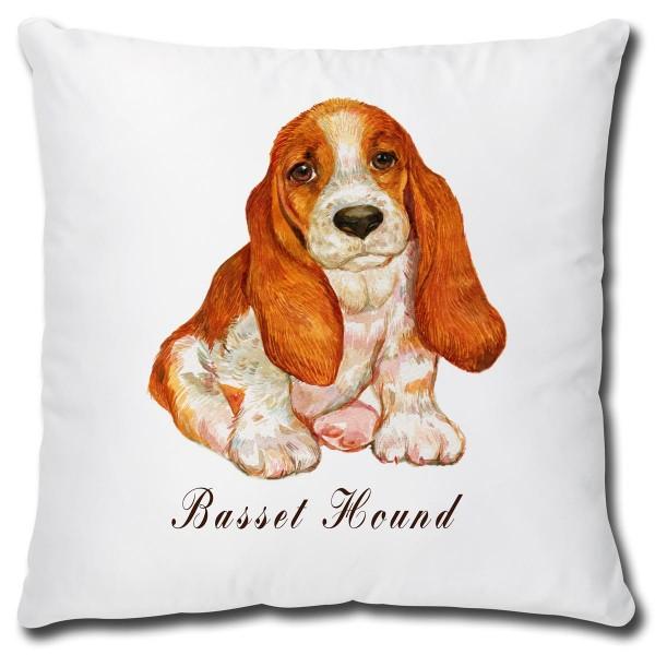Basset Hound Hund, Kissen 40x40 cm