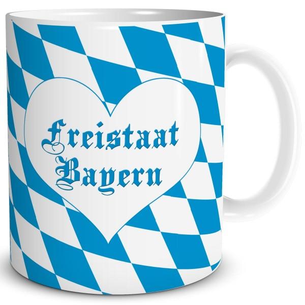 Flagge Bayern mit Herz, Tasse 300 ml
