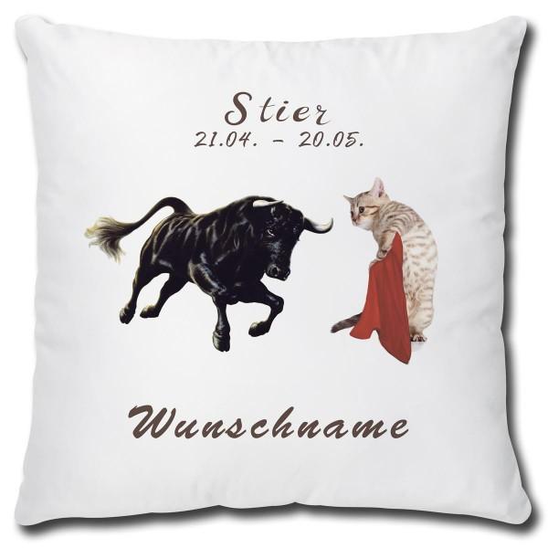 Sternzeichen Stier Katze, Kissen 40x40 cm personalisiert